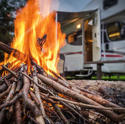 RV Park Campfire in Front of Motorhome P