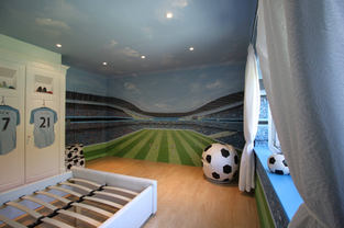 Football Stadium Bedroom Mural
