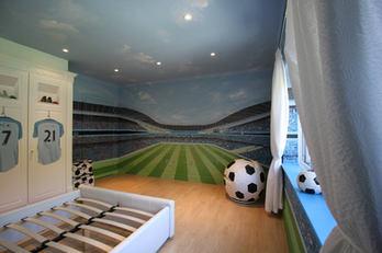 Football Stadium Bedroom Mural