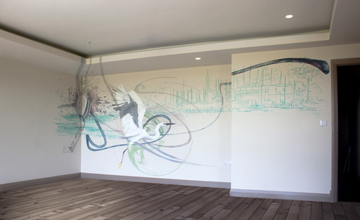 Watercolour Style Living Room Mural