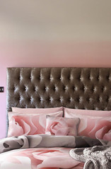 pink and grey bedding