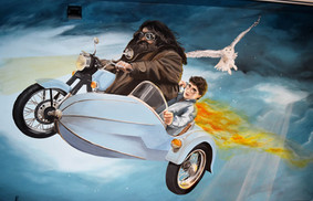 Harry and Hagrid on the Royal Enfield