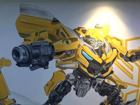 Bumblebee Transformer Robot Mural