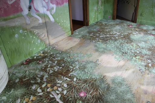 digitally printed forest floor carpet