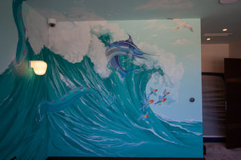 pirate boy's bedroom cheshire mural