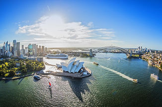 Aerial of Sydney harbour Opera House, 19