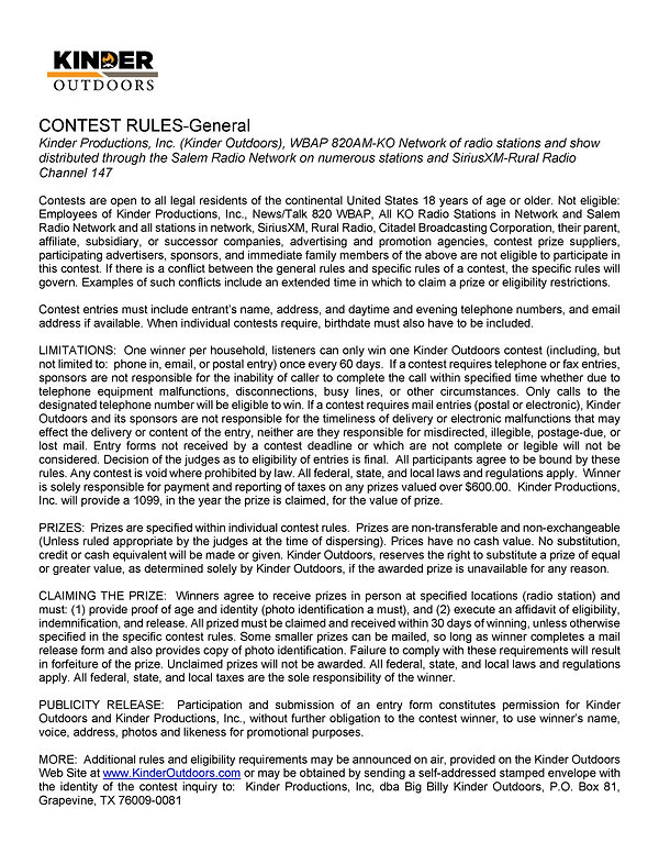 General & Specific Contest Rules-Deck th