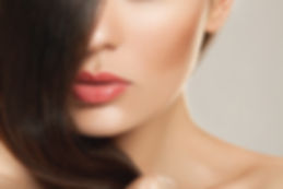 beautiful brown hair girl with natural makeup and brown eyes