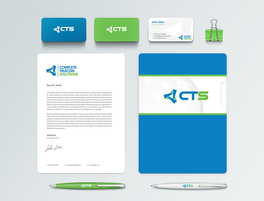 Complete Telecom Solutions Stationary mockups