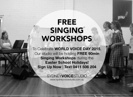 FREE Singing Workshops for WORLD VOICE DAY!