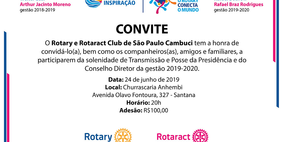 Cerimônia Festiva de Transmissão e Posse da Presidência e Conselho Diretor para a gestão 2019-2020