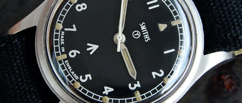 Smiths W10 British Military Watch Made In England Navy 6645 Issued Black Dial