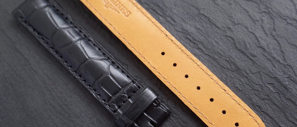 Loingines 18mm Genuine Black Alligator Leather Watch Strap NOS Unworn