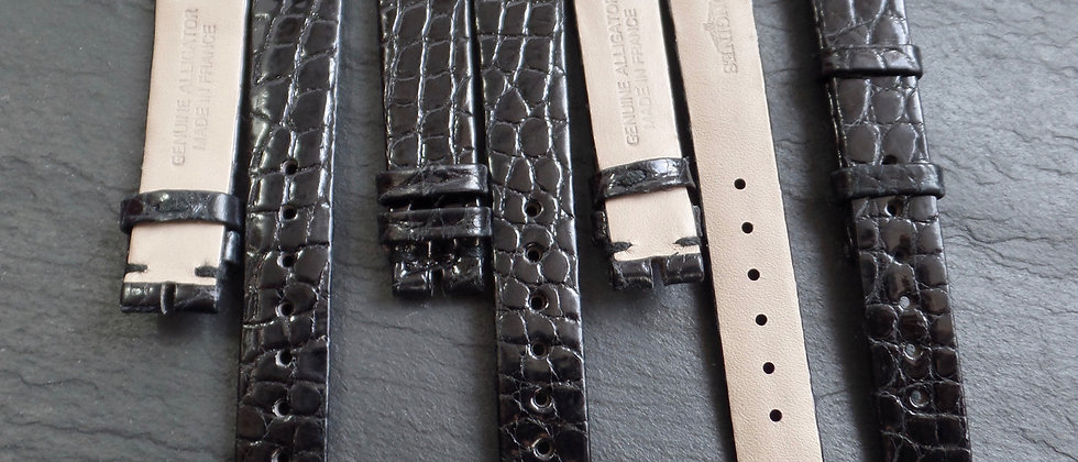 LONGINES 13mm Watch Strap BLACK GENUINE Alligator Skin