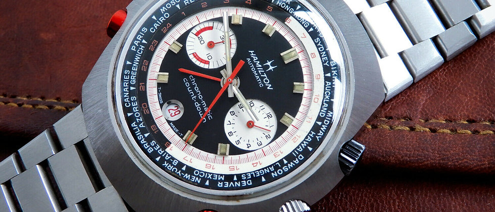 Hamilton RARE Vintage COUNT-DOWN GMT CHRONO-MATIC 141001-3 48mm World Time GMT