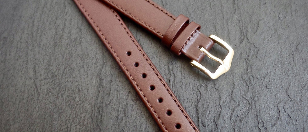 Hirsch NEW Brown Leather 14mm Taper 12mm Brown Leather Stitch Watch Strap Band
