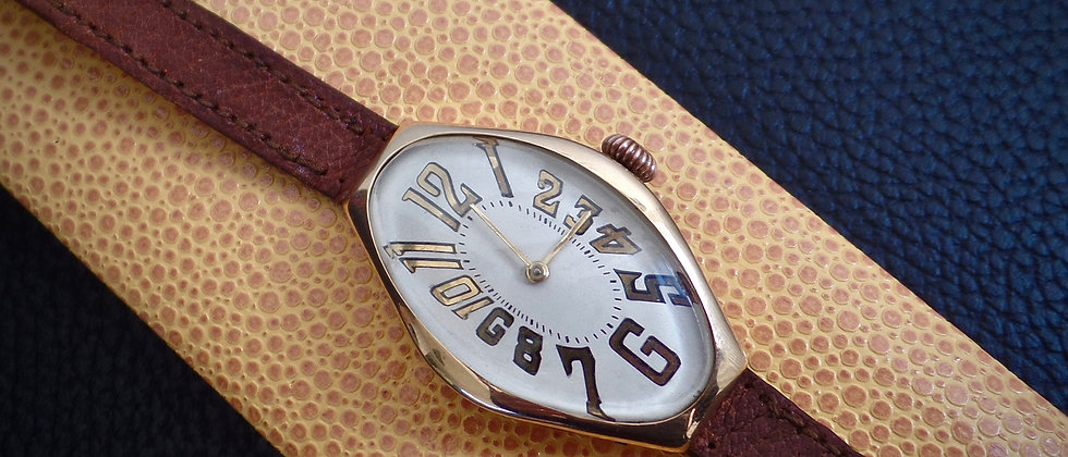 WW1 14k Solid Gold Exploding Number Historic Presentation Watch Swiss WILKA