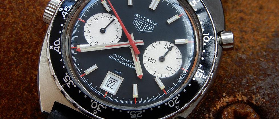 HEUER Autavia Cal 12 Automatic Chronograph 1163V Rare Piquarez Case EXCELLENT