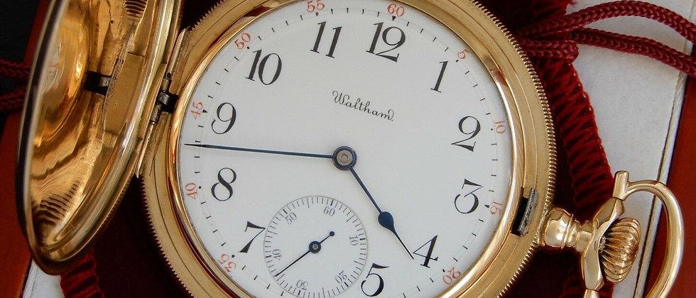 Waltham Maximus 14k Solid Gold HUNTER 23 Jewel Swan Neck Regulator Pocket Watch