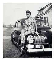 Classic 1950's classic girl, classic car