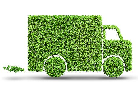 Electric car concept in green environmen