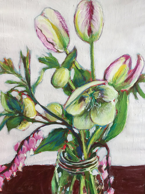 Tulipes, Héllébores et coeur saignant