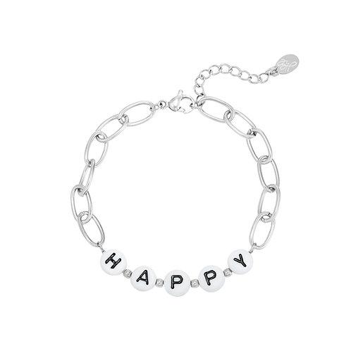 Armband Beads Happy Goud & Zilver
