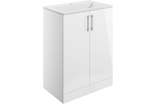 VOLTA 600MM 2 DOOR FLOOR STANDING VANITY UNIT INC. BASIN - WHITE GLOSS