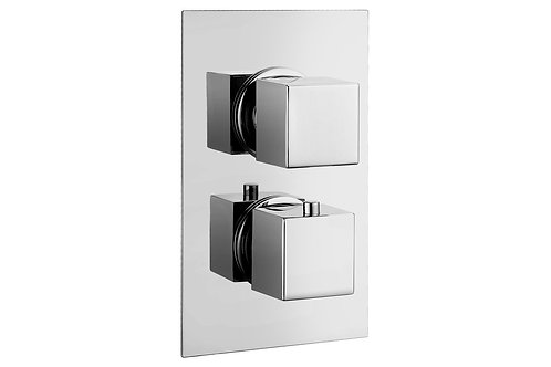KUBA THERMOSTATIC TWIN SHOWER VALVE - SINGLE OUTLET