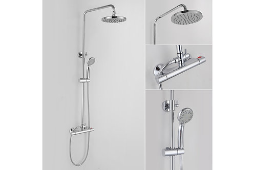 RONDI THERMOSTATIC BAR MIXER WITH ROUND HANDSET & OVERHEAD