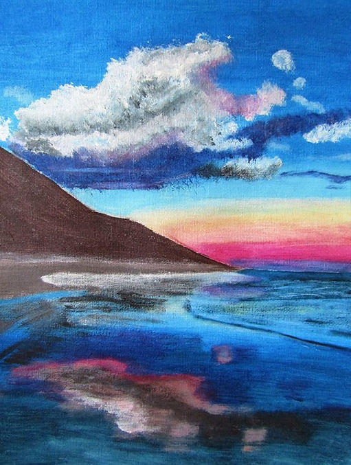 Dusk at the seaside, Acrylic Painting. T