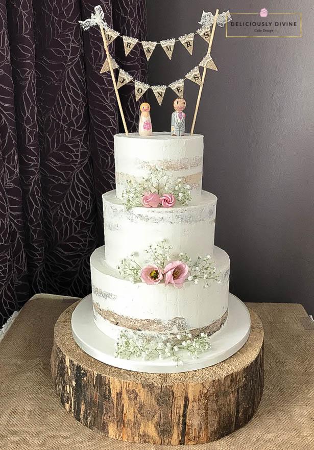 Simple Romantic Semi Naked Wedding Cake.