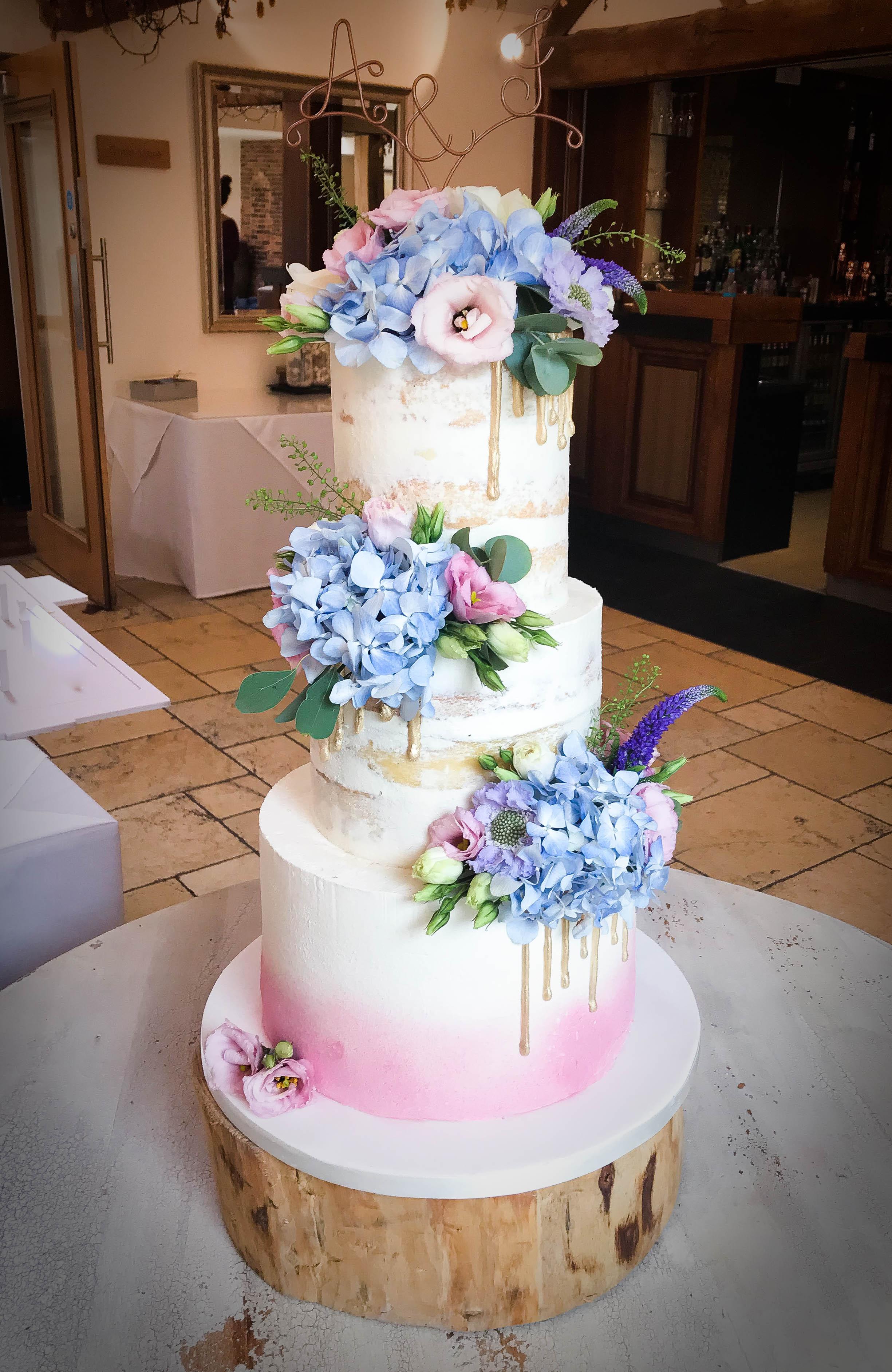 Pastel Semi Naked Wedding Cake