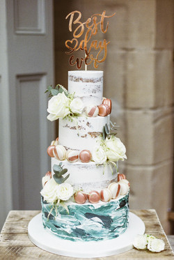 Water Colour and Semi Naked Wedding Cake