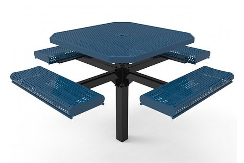 Octagon Rolled Edge Single Pedestal Picnic Table with Perforated Steel