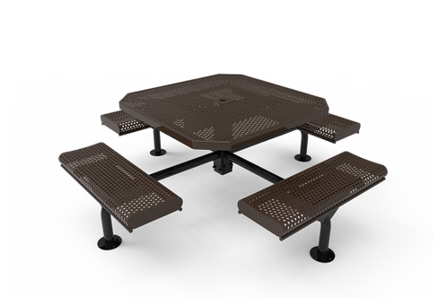 Octagon Rolled Nexus Pedestal Table with Perforated Steel