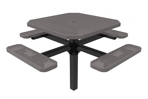 Octagon Single Pedestal Picnic Table with Perforated Steel