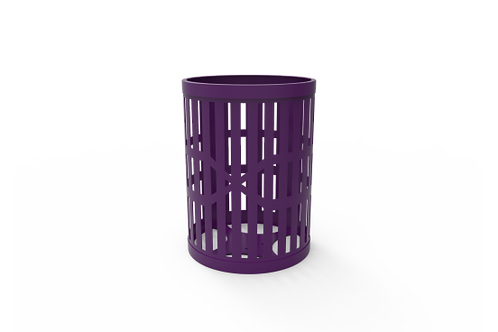 32 Gallon Trash Receptacle with Slatted Steel