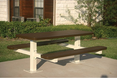 Rectangular Double Pedestal Picnic Table with Diamond Pattern