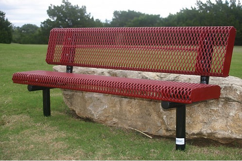 Diamond Pattern Rolled Edge Bench with Back