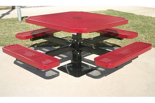 Octagon Single Pedestal Picnic Table with Diamond Pattern