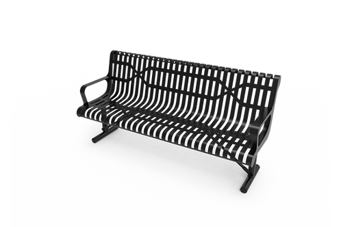 Slatted Steel Contoured Bench with Arms