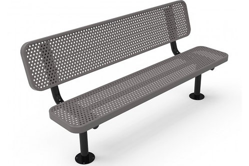 Perforated Steel Wide Seat Player's Bench with Back