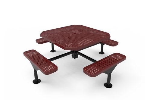 Octagon Nexus Pedestal Table with Perforated Steel