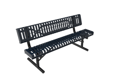 Slatted Steel Rolled Bench with Back