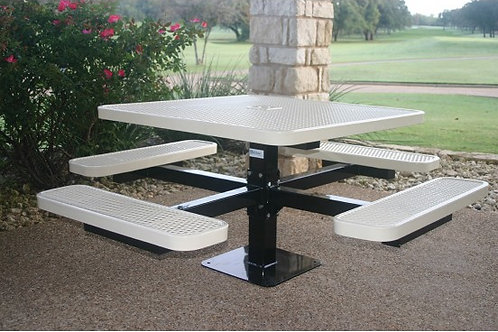 Square Single Pedestal Picnic Table with Diamond Pattern