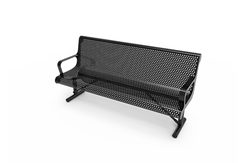 Perforated Steel Contoured Bench with Arms