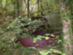 Deux marmites de charbonnier sous la végétation, marmites pour fabriquer du charbon de bois.