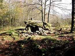 Vue élargie du dolmen de Puichaud. Dalle supérieure très massive.