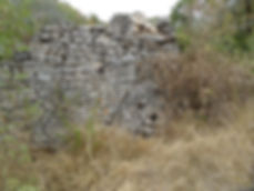 Moulin à turbines de Boulégou. Mur ruiné et grande meule.